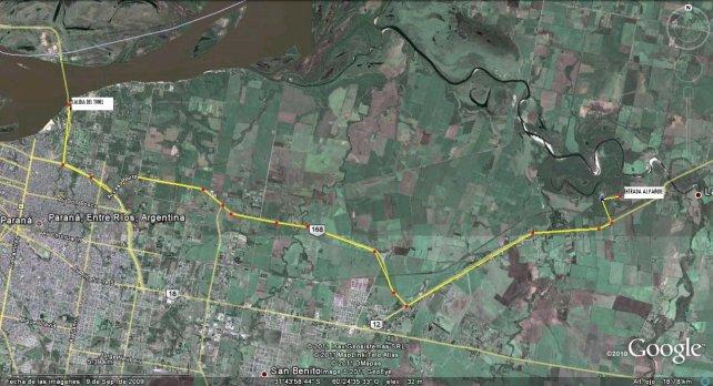 El plano indica el recorrido desde el túnel hasta el parque.