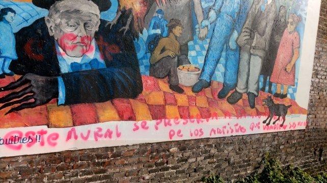 Así quedó el mural que ahora es un ejemplo a la intolerencia.